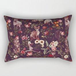 Cat and Floral Pattern Rectangular Pillow