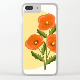 three poppies and sun Clear iPhone Case