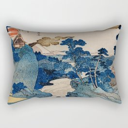 Cottages On Cliffs Traditional Japanese Landscape Rectangular Pillow