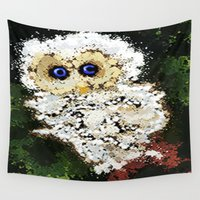 splatter Wall Tapestries featuring Splatter owl by grapeloverarts