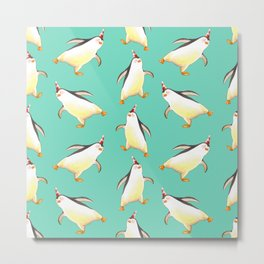Penguins walking aimlessly seamless pattern in watercolor  Metal Print