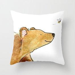 Bear & Bee Watercolor Throw Pillow