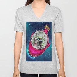Chinese Crested Hairless Dogs in Space  Unisex V-Neck