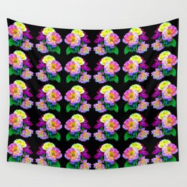 Rosa Yellow Roses on Black Pattern Wall Tapestry