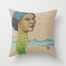LONELY MERMAID Throw Pillow