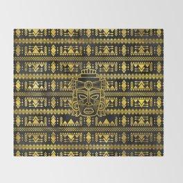 Gold  Aztec Inca Mayan Mask Throw Blanket
