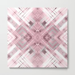 White pink geometric pattern . Metal Print