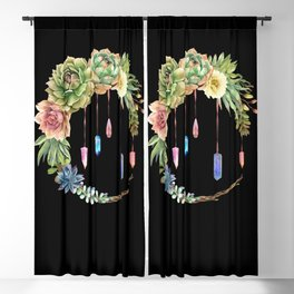 Crystal Crescent Moon With Lovely Succulents Blackout Curtain