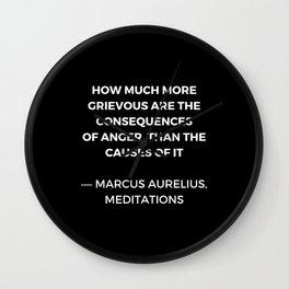 Stoic Wisdom Quotes - Marcus Aurelius Meditations -  on anger Wall Clock