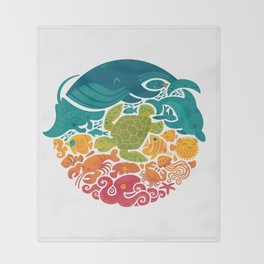 Aquatic Rainbow (white) Throw Blanket