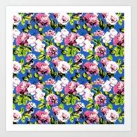Honolulu Floral - Blue Art Print