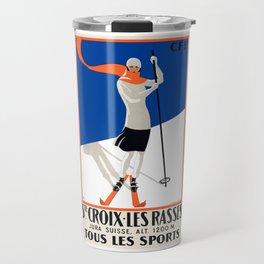 1922 Sainte-Croix Switzerland Ski Travel Poster Travel Mug