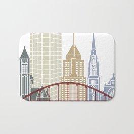 Pittsburgh V2 skyline poster Bath Mat