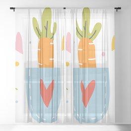 Cute carrot in a pocket Sheer Curtain