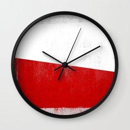 Polish Distressed Halftone Denim Flag Wall Clock