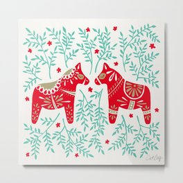 Swedish Dala Horses – Red & Mint Palette Metal Print