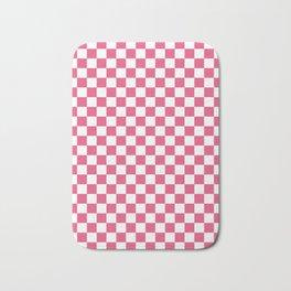 Small Checkered - White and Dark Pink Bath Mat