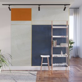 Orange, Blue And White With Golden Lines Abstract Painting Wall Mural