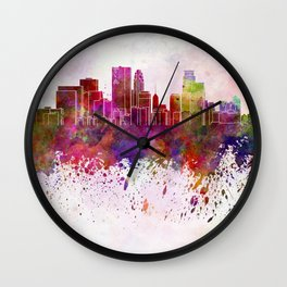 Minneapolis skyline in watercolor background Wall Clock