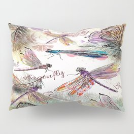 Boho Watercolor Dragonflies Pillow Sham