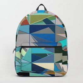 Mid-Century Modern Abstract, Turquoise and Neutrals Backpack