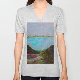 A Boat and a Seamless Sky Unisex V-Neck