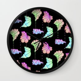 Ice Cream Shells Black Iridescent Wall Clock