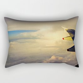 Wing of an airplane at sunrise Rectangular Pillow