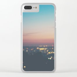 Looking down on the lights of Los Angeles as night. Clear iPhone Case