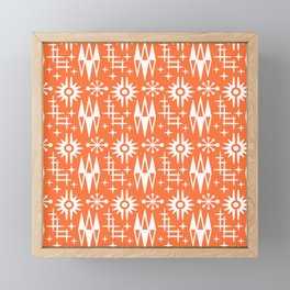 Mid Century Modern Atomic Space Age Pattern Orange Framed Mini Art Print