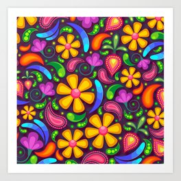 Brightly Colored Yellow Floral Pattern Art Print