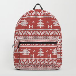 Helicopter Aviation Christmas Pattern Backpack