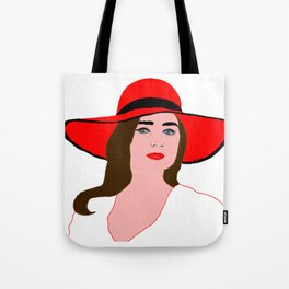 Woman in Red Hat Tote Bag