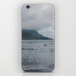 Two Surfers in a Sea - Kauai, Hawaii iPhone Skin