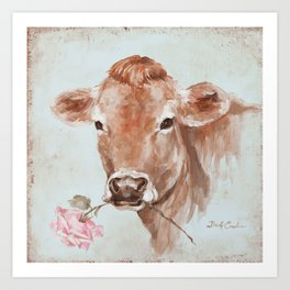Cow with Rose by Debi Coules Art Print
