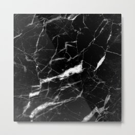 modern chic minimalist abstract black marble Metal Print