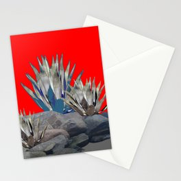 DECORATIVE  RED GREY DESERT AGAVE CACTUS Stationery Cards