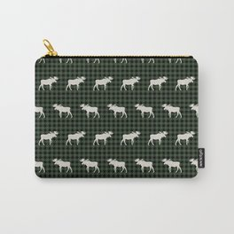 Moose northwest camping cabin chalet pattern plaid hunter green Carry-All Pouch