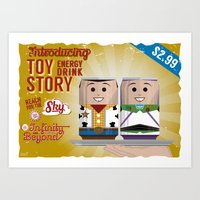 toy story Art Prints featuring Toy Story Soda Cans by Oneskillwonder