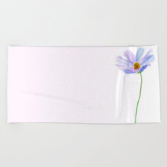 one purple cosmos Beach Towel