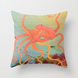 safety orange octopus Throw Pillow