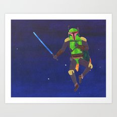 Boba Fett with a Lightsaber Collage Art Print