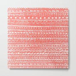 Living Coral Tribal Pattern Metal Print