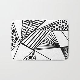 Modern abstract black white geometric stripes polka dots Bath Mat