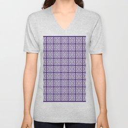Indigo Purple Greek Key Pattern Unisex V-Neck