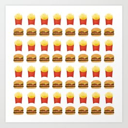 Burgers and Fries Pattern Art Print