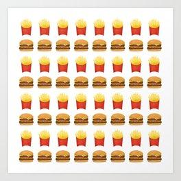 Burgers and Fries Pattern Art Print