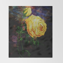 yellow roses in texture Throw Blanket