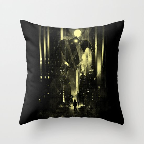 Giant robot and the kid Throw Pillow