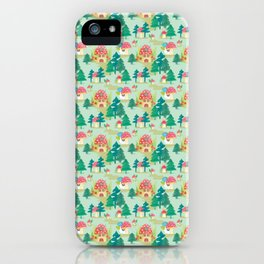 Little mushroom houses in a forrest iPhone Case